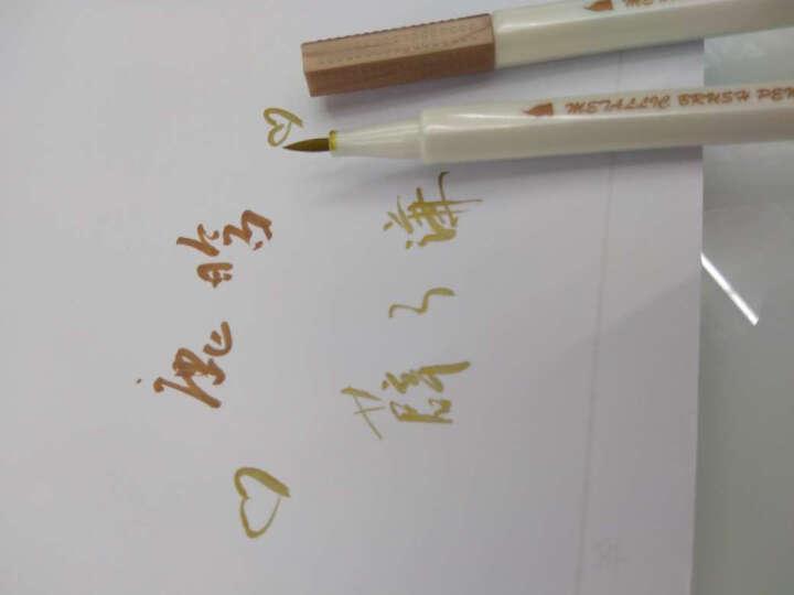 安蔻(ANGOO)彩色记号笔水笔软头笔金属珠光软笔油漆笔书法笔 儿童学生绘画涂鸦彩色中性笔签字笔 金色 晒单图