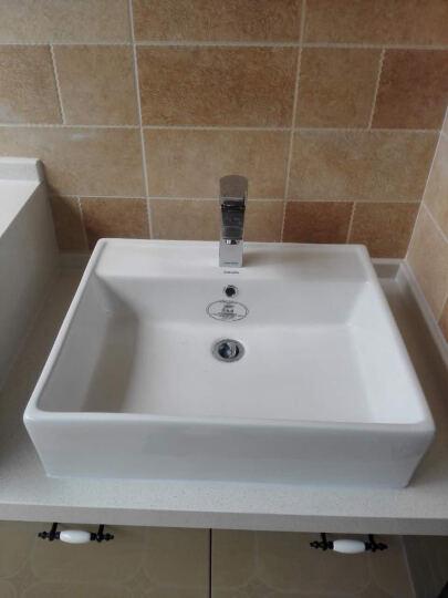 法恩莎(FAENZA) 欧式家用台上盆方形FP4659卫生间陶瓷洗手盆艺术盆FP4682 FP4682C全套含龙头下水 晒单图