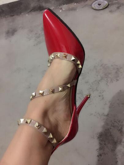 歌山品悦     2017夏季新款时尚优雅凉鞋韩版舒适高跟凉鞋女 红色 37 晒单图