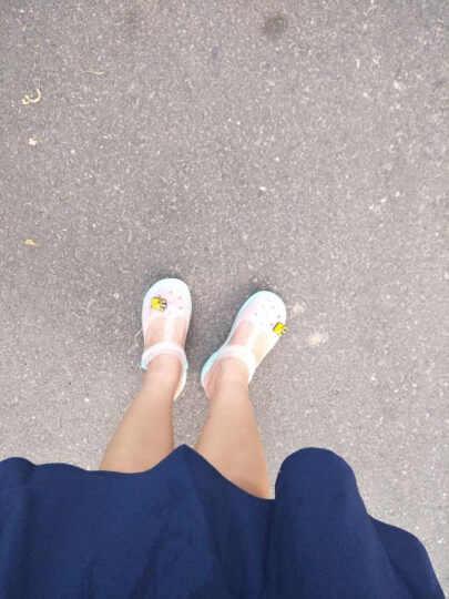 2017春夏凉鞋 女平跟水晶糖果变色洞洞鞋女沙滩鞋女玛丽珍果冻鞋新款 玛丽珍/水绿 37码 晒单图