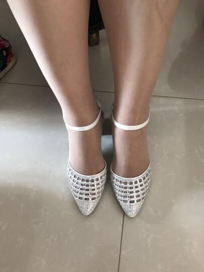 新款包头凉鞋女中跟性感水钻工作鞋包跟镂空女鞋尖头粗跟大码一字式搭扣女单鞋邻家天使 LJ205白色 34 晒单图