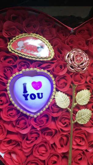 芙洛生日礼物女生情人节礼物送女友老婆闺蜜情侣新年实用99朵玫瑰花心形礼盒创意礼品 玫瑰花金色心形彩灯礼盒92DJ 晒单图