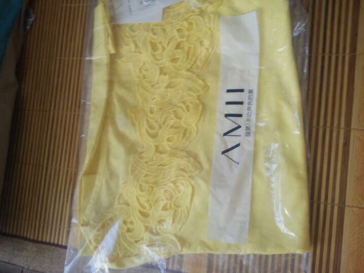 Amii[极简主义]T恤女短袖新款女不对称拼蕾丝大码11620337 藏蓝 S 晒单图