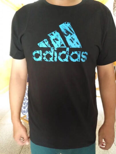 阿迪达斯Adidas男装短袖T恤 官网新款透气舒适男子运动休闲短袖Tee 大LOGO-黑/蓝 XL 晒单图