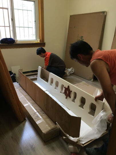卡菲丽 儿童床 上下床高低床成人子母床橡木双层床上下铺地中海实木组合床男孩女孩家具 梯柜床(含书架和挂梯和梯柜) 1500*1900 晒单图