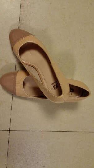 Bata拔佳漆皮高跟鞋圆头粗跟一脚蹬女鞋浅口时尚拼接通勤优雅鞋单鞋女 灰色718-2723 37 晒单图