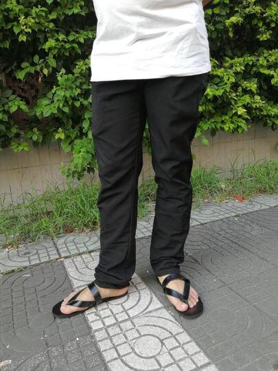 蒙思哲(MENGSIZHE)新款拖鞋 男 人字拖 沙滩凉鞋夏季皮拖鞋 黑色52 40 晒单图