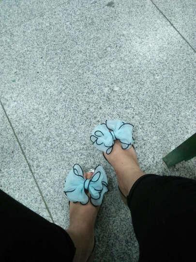 UYUK新款蝴蝶结平底凉鞋鱼嘴女鞋塑胶鞋水晶鞋孕妇鞋防水防滑舒适鞋 -88宝蓝 36 晒单图