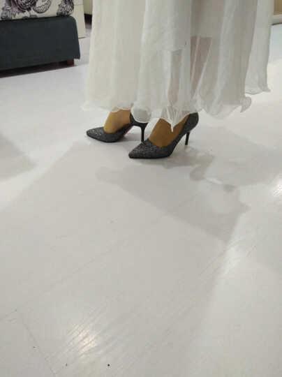 歌山品悦    春秋新款尖头单鞋女细跟时尚亮片高跟鞋 银色 39 晒单图