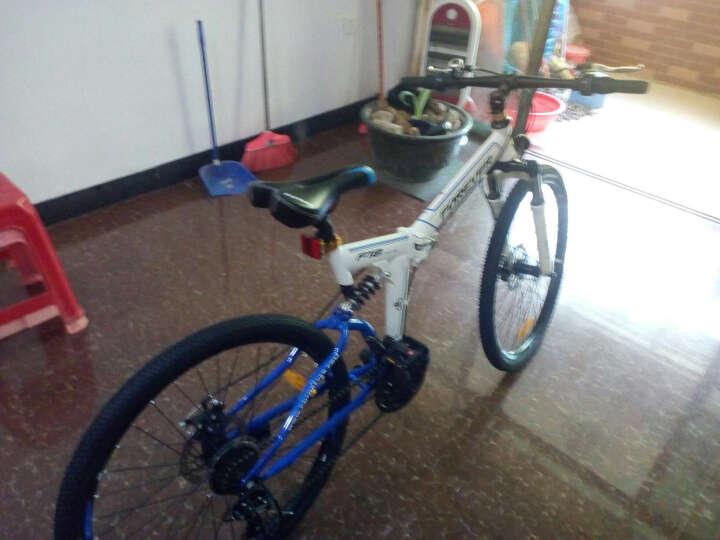 永久24速自行车 前后减震折叠山地车 双碟刹 男女士休闲车 学生变速单车 F18 白蓝色 晒单图