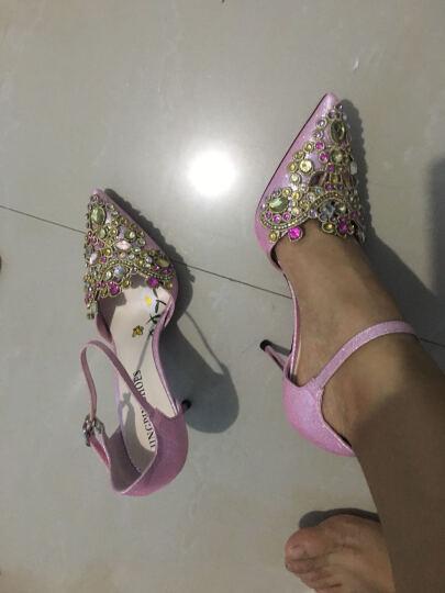 卡芭斯女士尖头高跟鞋女细跟防水台女鞋高跟2018新款浅口单鞋 KBS70153粉色 34 晒单图