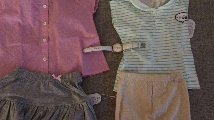 南极人夏季新款婴儿纯棉短裤裤子男女宝宝休闲短裤 织带短裙-粉灰 120CM 晒单图