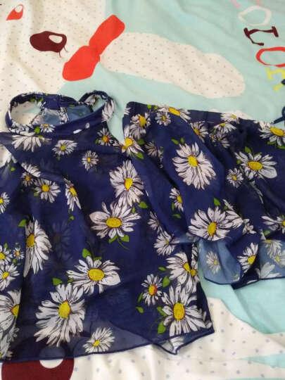 亦美珊新款泳衣女四件套分体保守比基尼罩衫聚拢遮肚游泳衣 蓝底花色M 晒单图