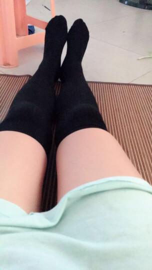 南极人袜子女士过膝袜春秋季长袜护膝袜日系甜美抽条显瘦微压长筒袜棉细竖条堆堆袜 黑色 均码 晒单图