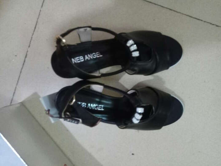 DEEWAHUA凉鞋女新款夏季粗跟鱼嘴鞋女丁字扣高跟大码女鞋 L6601白色 38 晒单图