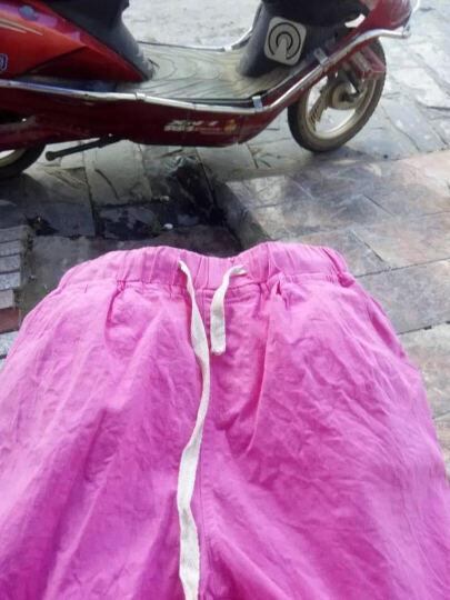 贝蕾曼2018春夏新款麻短裤女松紧腰宽松休闲糖果色五分裤子C8513 铁锈红 XL 晒单图