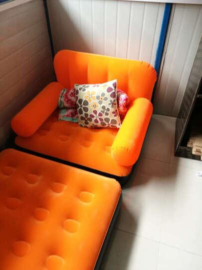 品质绒面时尚单人充气休闲躺椅冲气懒人沙发午休午睡床夏天午休沙发 浅蓝色单人充气沙发床送电气泵 晒单图
