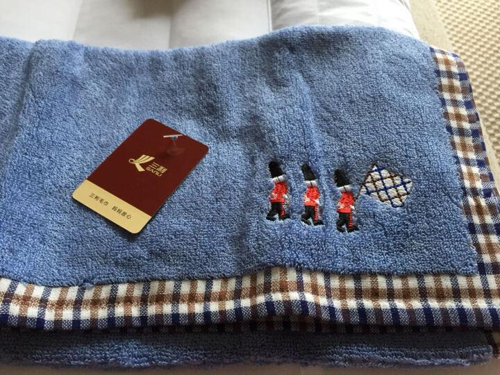 三利 纯棉布边缎档暗格面巾 35×75cm 柔软吸水洗脸毛巾 混色2条装 晒单图
