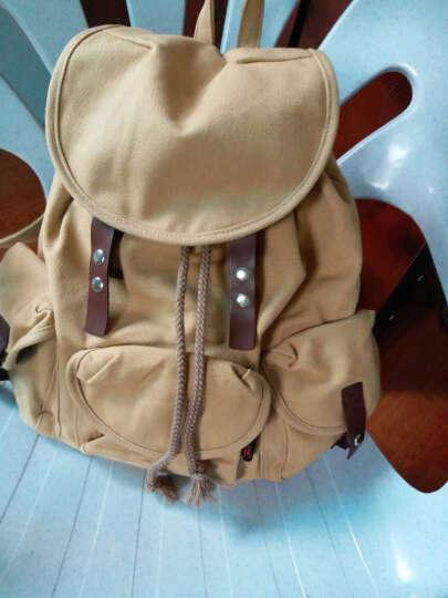 豆鼓眼(DouGuYan)韩版双肩包女休闲帆布学院风背包女旅行书包G00113 卡其色 晒单图