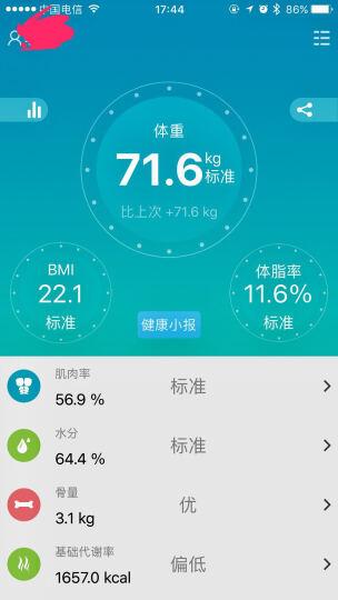 himama体脂秤 精准测脂肪 17项数据体验 家用健康秤电子秤 体重秤 蓝牙APP传输 粉色 晒单图