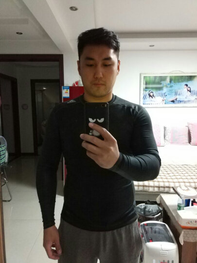 ADIDAS阿迪达斯健身服男2019秋季新款紧身衣篮球运动服跑步长袖T恤DW8481 CF7187 M 晒单图