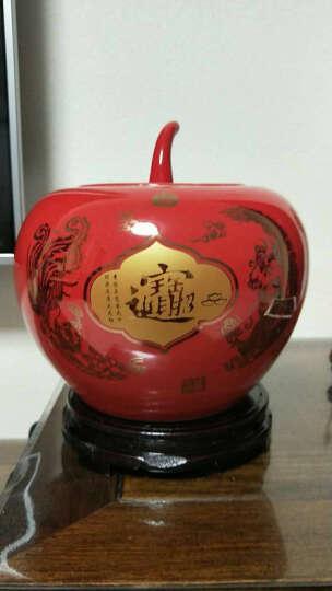 垒鑫  景德镇陶瓷器 中国红牡丹苹果储物罐储蓄罐创意摆设婚庆 全红釉 晒单图