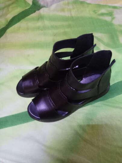 梓玲夏季黑色高帮鱼嘴中年凉皮鞋女真皮软底平跟凉鞋平底防滑妈妈凉鞋 棕色 38 晒单图