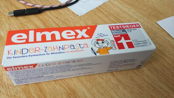 Elmex 德国进口氟化胺乳牙牙膏儿童洁齿可吞咽1-6岁共5支 晒单图