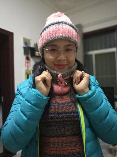 暖欧(NUANOU)帽子女冬韩版毛线帽潮保暖口罩针织加绒加厚护耳帽骑车围脖围巾 3件套—桔红色 晒单图