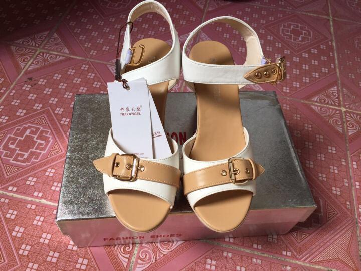 邻家天使凉鞋女2018新款夏季防水台粗跟拼色高跟鱼嘴鞋大码女鞋 L8271白色 37 晒单图