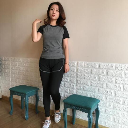 REALLION 瑜伽健身服韩式女夏季跑步裤子时尚修身速干弹力贴身运动紧身长裤 浅蓝色+黑色侧腿拼接款 L 晒单图