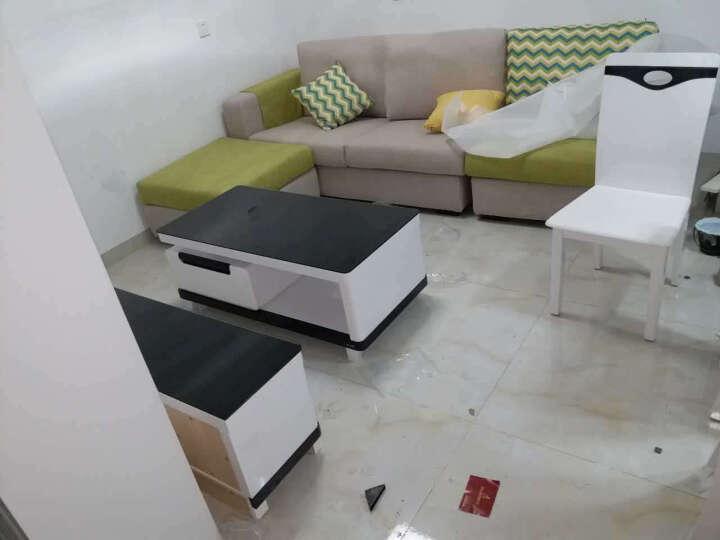 日月鑫  茶几电视柜组合  钢化玻璃茶几 大理石可伸缩电视柜 现代简约客厅家具 黑白(钢化玻璃台面) 电视柜+1.2米茶几 晒单图