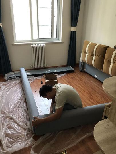 优饰名家(USEEM) 床 布床 双人床 实木床 北欧布艺床1.5m1.8米软包简约现代软床拆洗 气动单床+椰棕床垫+2个床头柜 1800*2000 晒单图