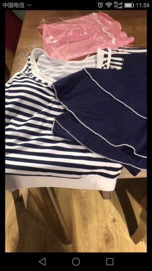 昊之浪(haozhilang) 昊之浪 泳衣女保守分体三件套游泳衣学生显瘦裙式 8430蓝白条纹 XXL(105-120斤) 晒单图