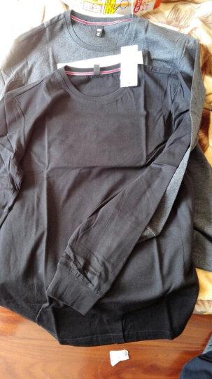 乔治汤米 长袖T恤男圆领纯棉体恤打底衫 衣服男长袖简约纯色 薄款黑色 L 晒单图