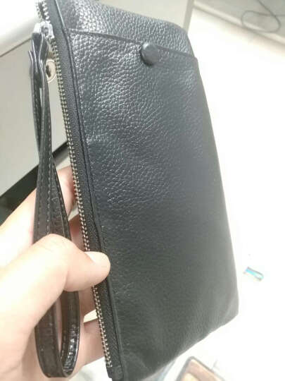 YESSBON钱包男长款超薄皮夹子多功能拉链皮夹男士牛皮手机包多卡位真皮钱夹 腕带款黑色 晒单图