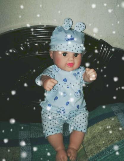 神秘岛婴儿娃娃仿真全软胶宝宝会说话的洋娃娃智能家政早教亲子安抚睡眠儿童女孩玩具 蓝色圆点50CM12声 晒单图