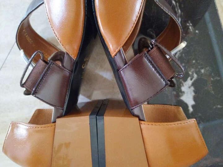 卓诗尼2017单鞋女士新款一字扣粗跟英伦复古方头玛丽珍女鞋夏季凉鞋子 棕色 34 晒单图