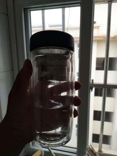 【支持货到付款】卡西菲创意双层玻璃杯水杯带茶隔过滤便携茶杯耐热男女士办公车载商务旅行杯 商务本钢色350ml 晒单图