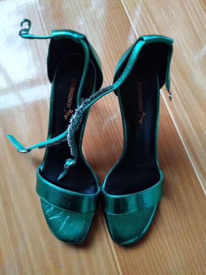 红蜻蜓女鞋 水钻露趾一字扣性感超细高跟凉鞋 WFK71401/02/03 绿色 39 晒单图