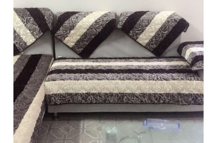 沙发垫套装冬季毛绒沙发套坐垫沙发巾 重复下架 条纹玫瑰绒-咖色 定做9元/0.1方(联系客服) 晒单图