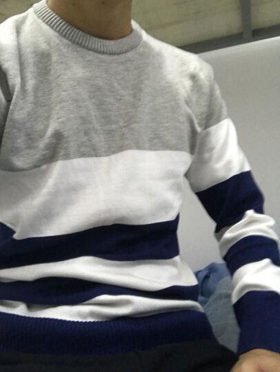 伦顿烟斗毛衣男针织衫男条纹圆领青年长袖加绒毛线衫男装潮 606黄色 L/170 晒单图