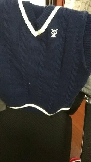 迪斯兔(DISITU) 儿童马甲 男童针织衫背心加绒纯棉春秋中大童毛线马夹v领毛衣 墨绿色 160cm 晒单图