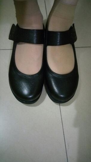 莱思丽女鞋牛皮圆头浅口坡跟 搭扣单鞋妈妈鞋KE81-LA136 黑色 35# 晒单图