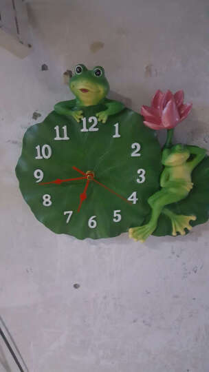 慧心巧聚 挂钟田园艺术装饰钟卧室客厅儿童房荷叶青蛙树脂静音挂钟 晒单图