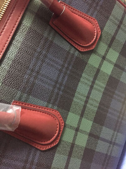 女包欧美潮流单肩包时尚格纹手提包斜挎包女 真皮商务品牌女包 DCA1886-83-72 绿色格子/酒红色 晒单图