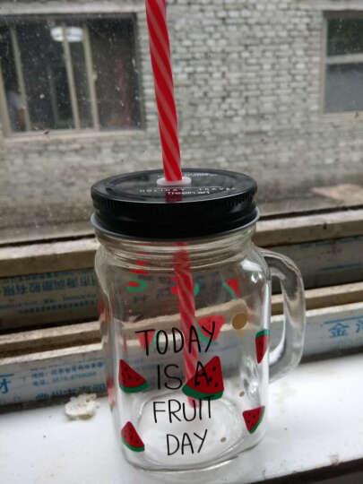创意水果系列透明带手柄公鸡冷饮水瓶个性学生男女士便携带盖玻璃办公室居家泡茶果汁吸管喝水杯子 红色西瓜公鸡手柄杯 晒单图