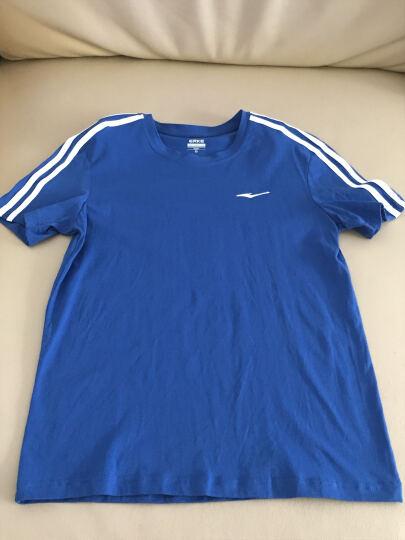 鸿星尔克erke男短袖T恤夏季新款纯色运动时尚圆领短袖T恤 宝石蓝 M 晒单图