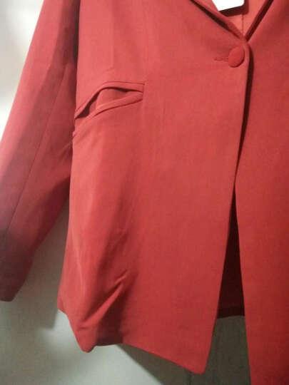 芙蕖 2017秋装新款韩版时尚套装上衣修身小西装女外套大码长袖职业西服两件套 橘色  时尚 M 晒单图