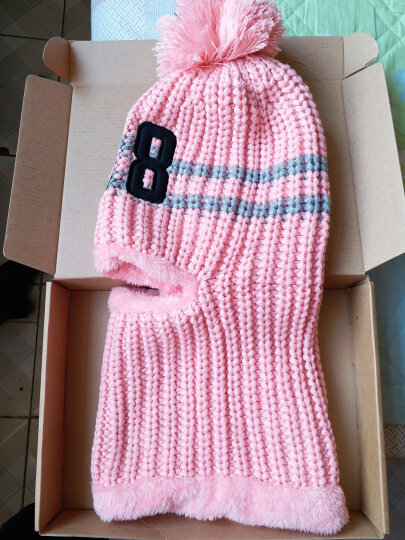 糖果涩 韩国加厚骑行毛线帽子潮女可爱冬季加绒护耳帽骑车保暖围脖一体帽 皮粉色 晒单图